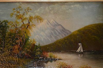 HUDSON RIVER ANTIQUE OIL PAINTING ON CANVAS VICTORIAN 1880'S Free Shipping
