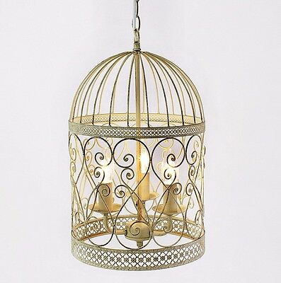 Lustre cage oiseaux 3er cr me ancien blanc cage plafonnier suspension - Ancien lustre suspension ...