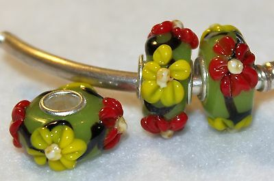 2x Red Yellow Flower Green Silver Murano Glass Beads ~Lot S7b Fit Charm Bracelet