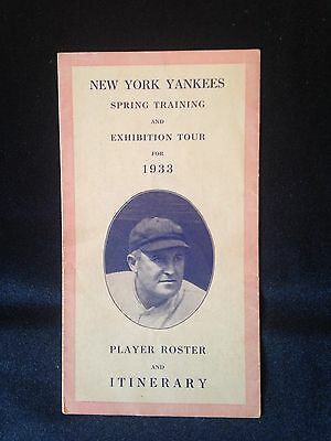 1933 New York Yankees Player Roster and Itinerary Spring Training and Exhibition