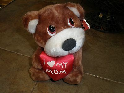 "Vintage Russ Stuffed Plush I Love ""heart"" Mom My Luv Pets NEW with tags"