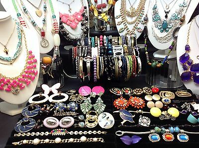 HUGE 100+ Pc. LOT OF VINTAGE to NOW COSTUME JEWELRY NECKLACES,BRACELETS..(#E103)