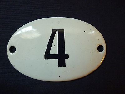 VINTAGE ENAMEL PORCELAIN TIN SIGN PLATE number 4 very small size very rare sign.