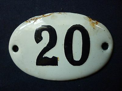 VINTAGE ENAMEL PORCELAIN TIN SIGN PLATE number 20 very small size very rare sign