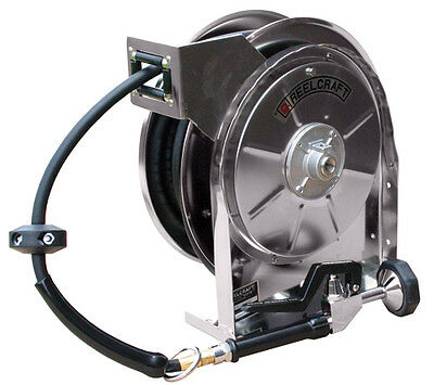 """REELCRAFT 5635 OLSSW5 Stainless Steel Hose Reel 3/8""""x35' 250 psi w/Hose & Nozzle"""
