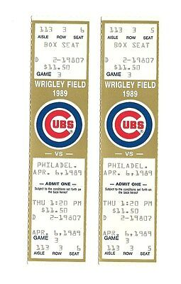 CHICAGO CUBS VS PHILADELPHIA PHILLIES UNUSED BASEBALL TICKETS FROM 4/6/1989