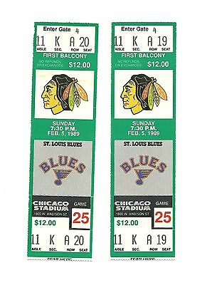 CHICAGO BLACKHAWKS VS ST. LOUIS BLUES UNUSED HOCKEY TICKETS FROM 2/5/1989
