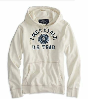 Mens NEW American Eagle White Chalk Popover Graphic Hoodie Sweatshirt Large NWT