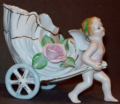 Vintage Napco Porcelain Angel Cherub Sea Shell Cart Spill Vase Planter