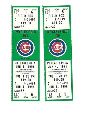 CHICAGO CUBS VS PHILADELPHIA PHILLIES UNUSED BASEBALL TICKETS FROM 6/4/1996