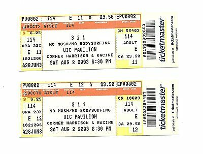 311 UNUSED CONCERT TICKETS FROM 2003