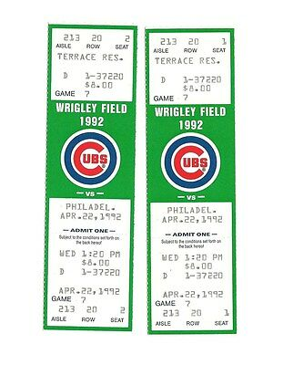 CHICAGO CUBS VS PHILADELPHIA PHILLIES UNUSED BASEBALL TICKETS FROM 4/22/1992