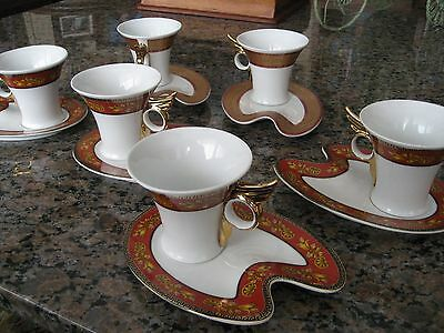 YAMASEN GOLD COLLECTION Fine Porcelain 24 CT Gold Plated Cup And Saucer-Set Of 6