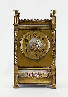19th Century French Shelf Clock With Porcelain Plaques- With 2 Keys & Pendulum