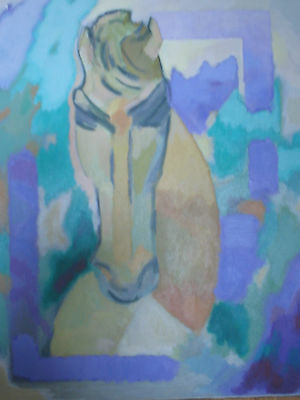 MODERNIST OIL PAINTING ABSTRACT EXPRESSIONIST HORSE PORTRAIT AMERICAN SIGNED OLD