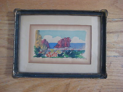 ANTIQUE FAUVES LANDSCAPE PAINTING MINIATURE SIGNED OLD VINTAGE EUROPEAN FRAMED