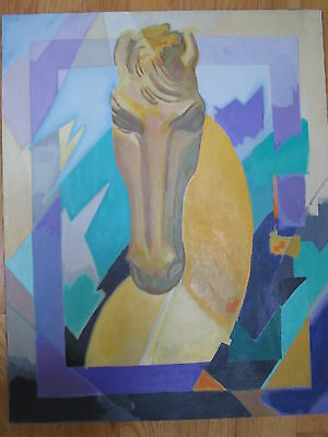 MODERNIST ABSTRACT EXPRESSIONIST CUBIST HORSE PORTRAIT OIL PAINTING SIGNED OLD