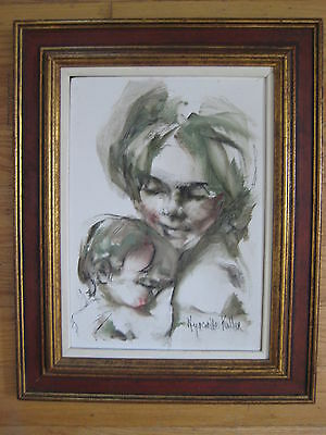 MOTHER AND CHILD IMPRESSIONIST OIL PAINTING SIGNED KULLER BARON LISTED FRAMED
