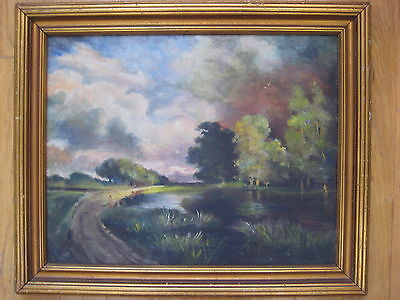 MUSEUM QUALITY ANTIQUE VINTAGE EUROPEAN REALIST LANDSCAPE OIL PAINTING OLD ART