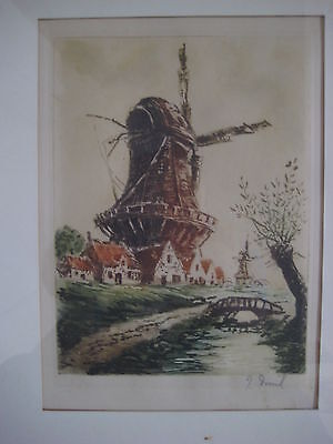ANTIQUE EUROPEAN DUTCH WINDMILL COLOR ETCHING SIGNED VINTAGE OLD FRAMED VTG ART