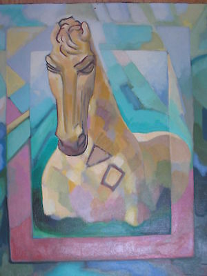 AMERICAN MODERNIST OIL PAINTING ABSTRACT HORSE PORTRAIT CUBIST SIGNED MODERNISM