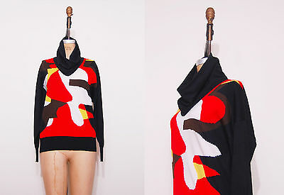 1980s abstract print sweater / Vintage 80s black red white cowl neck top