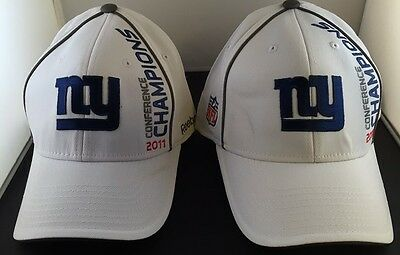 Flaw Lot of 2 New York Giants Reebok 2011 Conference Champions Football NFL Hat