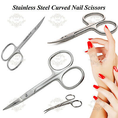 Stainless Steel Finger Toe Nail Scissors Curved Manicure Cuticle Scissors (New)