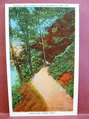 Postcard IN Valparaiso Lovers Lane Sager Lake Lake of the Woods Club