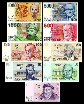 7. Serie/Issue Israel 1978-1984 - 1 - 10000 Sheqalim - P43 - 51 Reproduktion