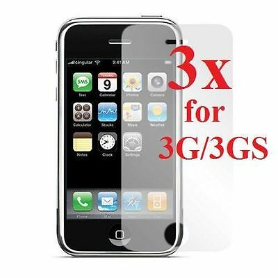 3x Ultra Clear LCD Screen Protector Films Cover For Apple iPhone 3G/3Gs !