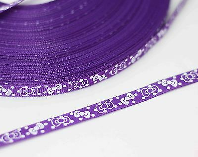 New charm 3/8 (10mm) bow print polyester texture 20yards ribbon Purple