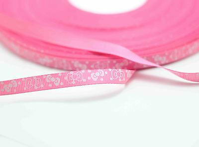 New charm 3/8 (10mm) bow print polyester texture 20yards ribbon rose