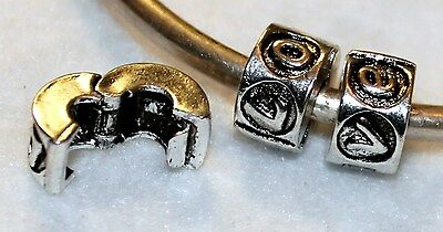 2x LOVE STOP LOCK/CLIP STERLING SILVER BEAD FIT MURANO GLASS CHARM LOT R30 HEART