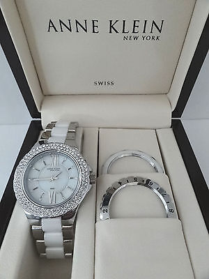 Anne Klein 12/2141INST Crystal Accented Mother-of-Pearl White Ceramic Watch $350