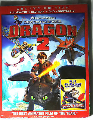 HOW TO TRAIN YOUR DRAGON 2 3D Blu-ray DVD Digital HD Deluxe Edition + Slipcover
