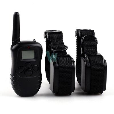 100LV Rechargeable Waterproof LCD Shock Vibra Remote 2 Dog Pet Training Collar