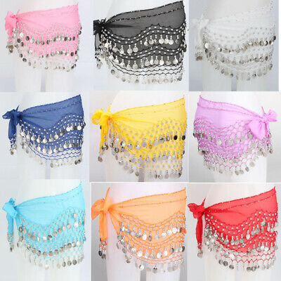 New Belly Dance Belt Crystal Hip Scarf 3 Row of Silver Coin Scarf Wrap Skirt US