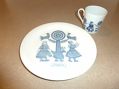 ROYAL SPHINX MAASTRICH Childs Plate / Cup 'Marken' Blue/ White Porcelain Holland