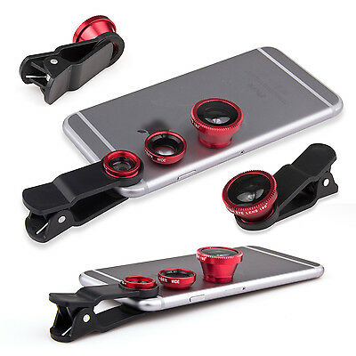 Red 3 in 1 180° Fish Eye Lens+Wide Angle+Micro Lens for iPhone 6 5s/5c 5 4s 4