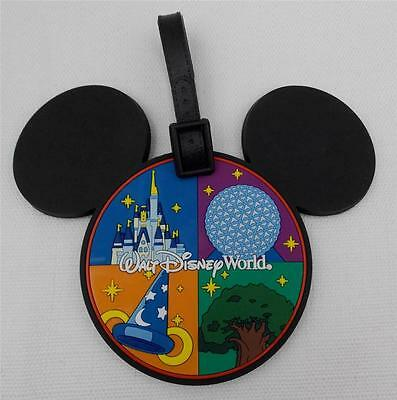 Walt Disney World Parks Luggage Tag Mickey Ears Icon Four 4 Parks New