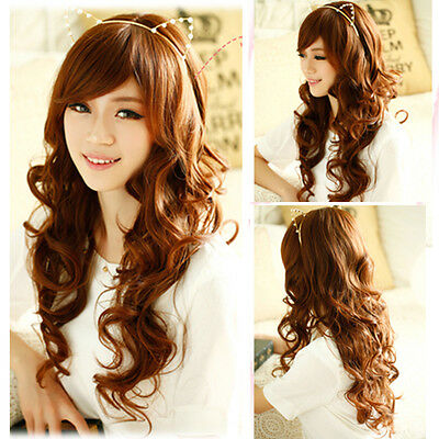 new fashion curly wavy long hair full wigs womens weave cosplay party brown wig