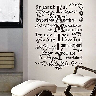 Huge Family Lettering  Art Vinyl Quote Wall Stickers Wall Decals Home Decor