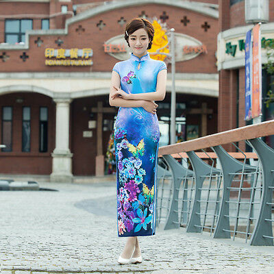 Chinese Cheongsam Qipao Dress Blue w butterfly and flower-Fast Ship from IL US