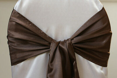 "Brown 6""X108"" Satin Chair cover Sashes Bow Wedding Party Function Decoration"