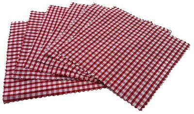 Damson Brook Red Gingham Fabric Jam Jar Preserve Chutney Covers Pack of 6