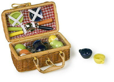 "NEW Toy Picnic Basket ""Multicoloured"" Wicker Full Set with Plates Cups and more"