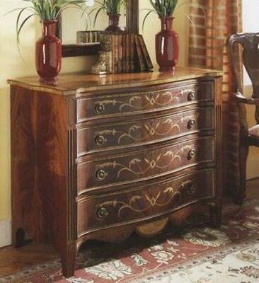 Walnut English Serpentine Chest of Drawers antique reproduction NEW