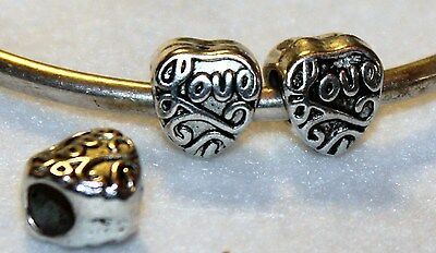 2x Love Hearts Antiqued Silver Beads NEW Lot Q45 Fit European Murano Glass Charm