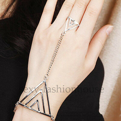 Fashion Jewelry Hot Lady's Elegant Ring Bracelets Punk Triangle Silver Girl Cool